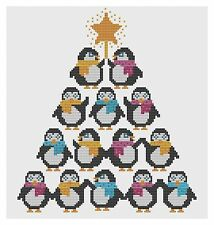 Penguin Christmas Tree Cross Stitch Kit by Florashell