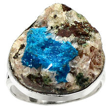 Cavansite Crystal - Rare Crystal 925 Sterling Silver Ring Jewelry s.9 RR12642