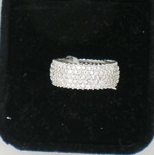 SILVER PLATTED LADIES CZ RING MICRO PAVE SILVER RING size 8 width .25 INCH