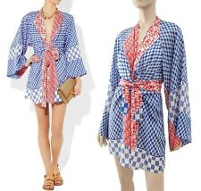 ISSA Printed Silk Chiffon Kimono-Style Dress 16UK/12US ~TRUE BLUE (+RED+WHITE)!