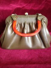 Vintage 1930s Brown Leather Handbag with Amber Lucite Bakelite Handle