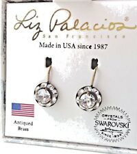"Liz Palacios clear colorless 6 mm Swarovski crystal rondelle 1"" drop earrings US"
