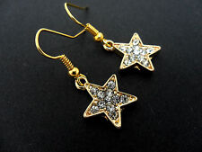 A PAIR GOLD PLATED LITTLE RHINESTONE/DIAMANTE STAR EARRINGS. NEW.
