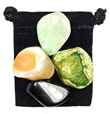SELF AWARENESS Tumbled Crystal Healing Set  = 4 Stones +Pouch + Description Card