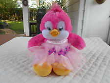 "2013 Build A Bear 16"" Pink & White Singing Duck Plush In Party Dress"