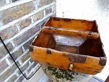 VINTAGE WOODEN BOX WITH HANDLE - OLD WOODEN BOX BASKET WITH HANDLE