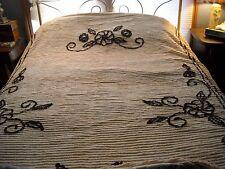 Vintage peach and brown cotton floral chenille bedspread