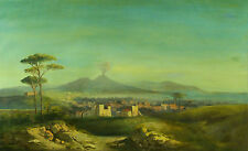 Antique Italian 19 century Original Oil Painting of  NAPLES VESUVIO ITALY  # 2