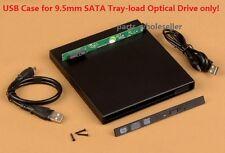 USB 2.0 External Case Caddy For CD CR-W DVD DVD-W Combo Blu-ray 9.5mm SATA Drive