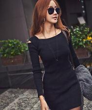 Fashion Womans Knit Open Cold Shoulder Jumper Slim Bodycon Mini Dress PLUS SIZE