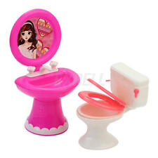 Bathroom Furniture Accessories Plastic Toilet and Sink Set for Doll's House