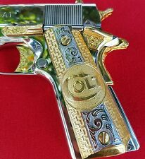 "1911 German Silver ""Colt "" Rhodium & 24kt Gold Plated Grips 45/38 super Colt Ria"