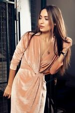 ZARA NEW NUDE PINK VELVET CROSSOVER MIDI  DRESS SIZE L UK 12