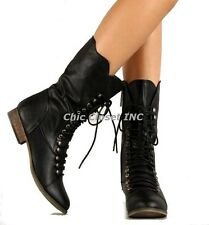 NEW Women Military Combat Lace Up Fux Leather Mid Calf Low Heel Fashion Boots