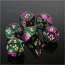 NEW 7pc Set Purple Green Gemini Dice in Box RPG Game D&D 7 piece Chessex D20 +