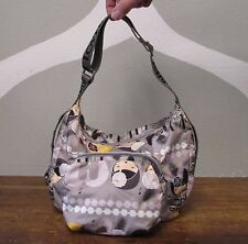HARAJUKU LOVERS Gray Nylon Print 2 Pocket FLAPPER Music Crossbody Shoulder Bag