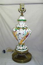Vintage 1950s Regency Majolica Vase Table Lamp w Ornate Metal Base EXC Cond 4554