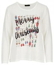 PM Norway white Merry Christmas womans jumper new present season size M 10-12