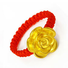 Authentic 24k Yellow Gold 3D Lucky Rose Knitted Ring - Leave note for ring size