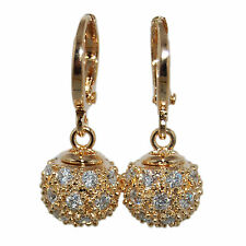 18k Gold Filled Ball Dangle Earrings with Clear Swarovski Crystals girls women
