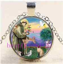 Siamese Cat and St Francis Cabochon Glass Tibet Silver Chain Pendant Necklace