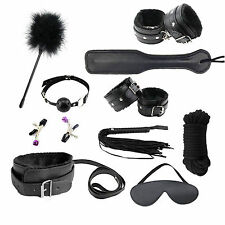 10 Pcs BDSM SM Sex Toys Bondage Set Straps Kit Ball Gag Cuff Whip Collar Fetish