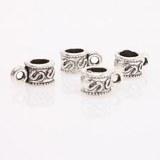 500x Antique Silver Letter S Pattern Zinc Alloy European Charms Beads Findings C