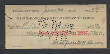 First National Bank & Trust Company of Elmira NY Used Check 1931