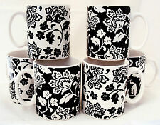 Florence Tazze Set 6 in porcellana black & white FIRENZE Tazze a mano decorata in U.K.