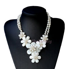 Natural Sea Shell pearl flower necklace Wedding Woman Jewelry
