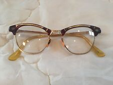 Vintage 40s/50s Womans Cat Eye Glasses Gold Etched Metal Horn 5 1/2 in Frame