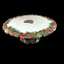 NIB Fitz And Floyd Classic Holiday Pine Footed Cake Stand Plate Large 1993