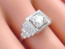 ANTIQUE ART DECO 1.1ct EURO DIAMOND STEP SHOULDERS PLATINUM ENGAGEMENT RING 1930