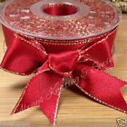 2 metres xmas red / gold edge double faced satin ribbon 7mm 15mm 25mm