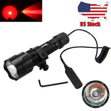 Tactical 5000lm Q5 RED LED Flashlight Torch Gun/Rifle Hunting Lamp Mount Scope