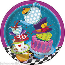 "8 Storybook Mad Hatter Children's Tea Party Disposable Large 9"" Paper Plates"