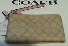 COACH DOUBLE ZIP LIGHT KHAKI & PETAL PINK WALLET CLUTCH WRISTLET