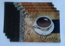 "4 Pc Cafe Latte Placemats 17-1/8"" x 11-1/4"" Brown White Black Polypropylene"