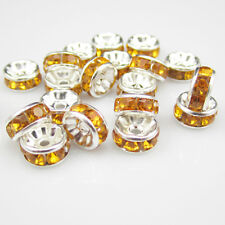 Free shipping Charm for jewelry 20pcs 8MM Plated silver crystal spacer beads B12