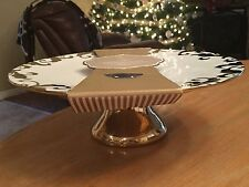 "NEW! CIROA LUXE BEAUTIFUL GOLD PEDESTAL CAKE PLATTER/PLATE - 12"" ROUND, 4"" TALL"