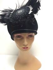 Vintage Jack McConnell Boutique Black Feather and Rhinestone Hat