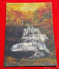 VINTAGE BEAUTIFUL PAINTING OF NATURAL VIEW OF FOREST AND WATERFALL CANVAS BOARD
