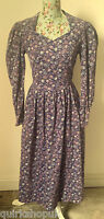 LAURA ASHLEY Vintage plum floral BABY CORD COTTON 20's tea dress 12 14 40 NEW