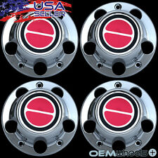 4X NEW 1980-1996 FORD F150 BRONCO E150 ECONO VAN CHROME CENTER CAPS HUBS SET RED