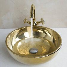 Bathroom Golden Color Luxury Tempered Glass Basin Set Basin Sink Faucet Set