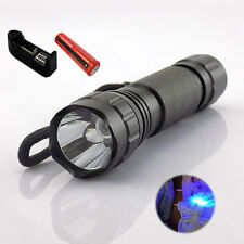 UV Ultraviolet Led Flashlight Backlight Torch18650 battery AC charger Cash Check