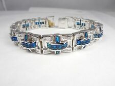 AWESOME LARGE STERLING SILVER MENS BRACELET WITH SAPPHIRES