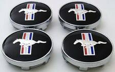 "Ford Mustang Black Pony 60mm Center Caps 2 3/8"" Hub Caps FITS BASE, GT, COBRA, R"