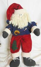 Big Shelf Sitter Country Santa with Button Trim on his Outfit Blue Shirt