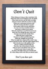 STUNNING FRAMED LIFE INSPIRATIONAL QUOTE / PRINT / POSTER / DON'T QUIT 2